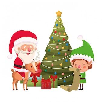 Papai noel e elfo com árvore de natal