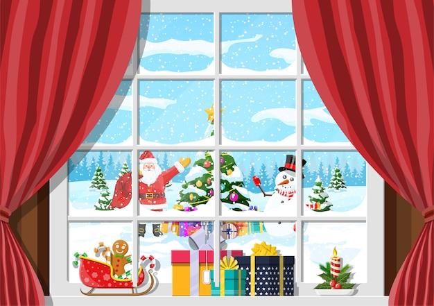 Papai noel e o boneco de neve parecem na janela da sala de estar. quarto com árvore de natal e presentes. cena de feliz natal
