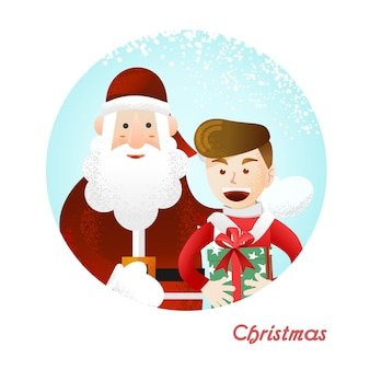 Papai noel e o garoto segurando um presente de natal