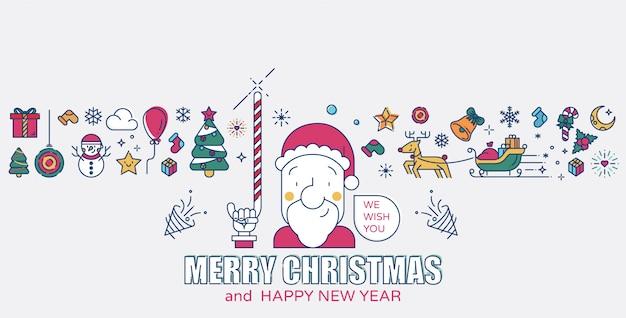 Papai noel e os ícones de natal colorido ilustração vetorial de linha