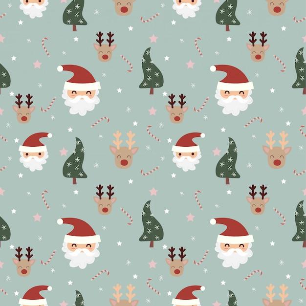 Papai noel e renas com padrão sem emenda de elementos de natal