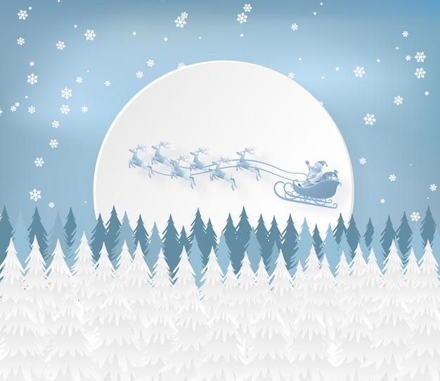 Papai noel e renas no céu na temporada de inverno