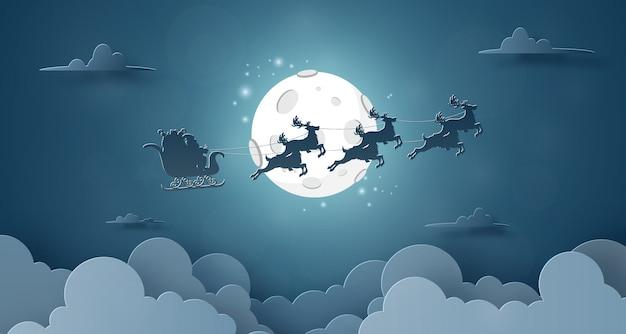 Papai noel e renas voando no céu com lua cheia