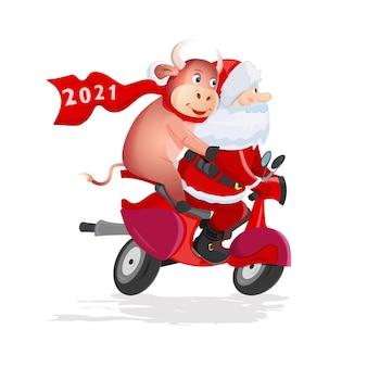 Papai noel e touro engraçado montam uma scooter vermelha sobre fundo branco.