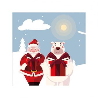 Papai noel e urso polar com caixa de presente na paisagem de inverno