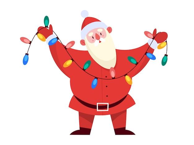 Papai noel em pé com luzes da árvore de natal multicoloridas em suas mãos. ilustração bonito dos desenhos animados da temporada de férias. celebração de natal e ano novo.