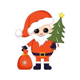 Papai noel em traje vermelho e chapéu com saco de presentes e árvore de natal com o símbolo da estrela do ano novo ...