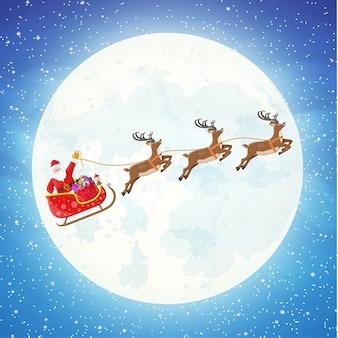 Papai noel em um trenó cheio de presentes e suas renas com a lua no céu