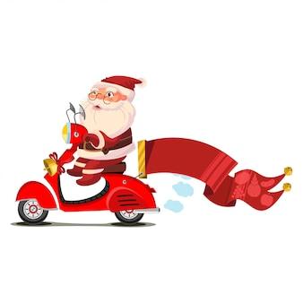 Papai noel em uma scooter com um personagem de desenho animado de bandeira vermelha isolado no branco