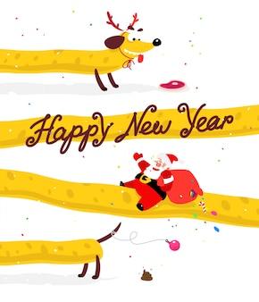 Papai noel encantador em um cão amarelo. ano novo chinês e natal
