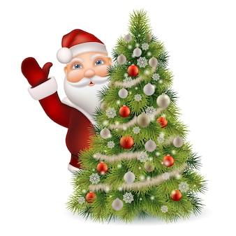 Papai noel espreitando de uma árvore de natal decorada e deu as boas-vindas.