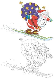 Papai noel esquiando com desenhos animados de presentes de natal