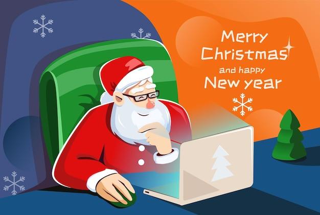 Papai noel está sentado em um laptop em casa e escolhendo um presente para você o natal está chegando.