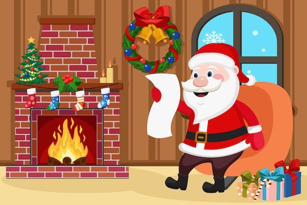 Papai noel está sentado em uma cadeira perto da lareira com fogo e lendo. cartão de natal