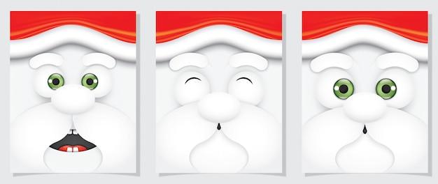 Papai noel estilo bonito dos desenhos animados de expressão facial.