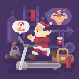Papai noel exercitando e entrar em forma para o natal