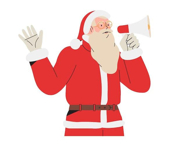 Papai noel falando em alto-falante ou megafone desejando boas férias de inverno