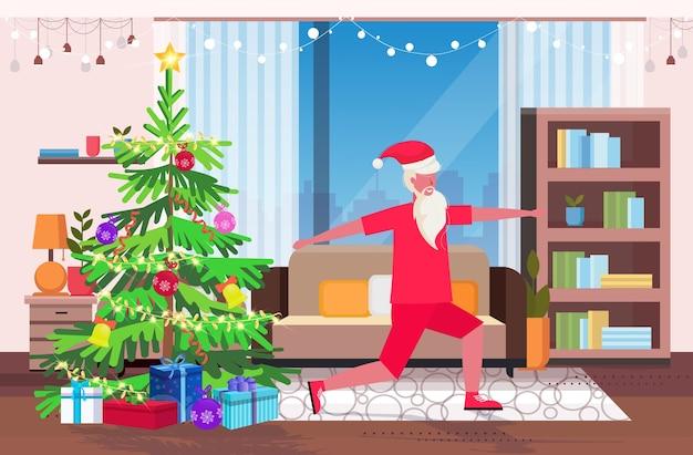 Papai noel fazendo exercícios de agachamento homem barbudo treinamento treino estilo de vida saudável conceito de natal ano novo feriados celebração sala de estar moderna ilustração de interiores