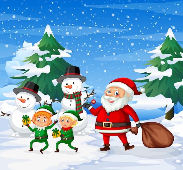 Papai noel feliz e fundo ourdoor elf