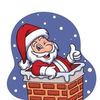 Papai noel fofo celebrando o natal com o polegar para cima