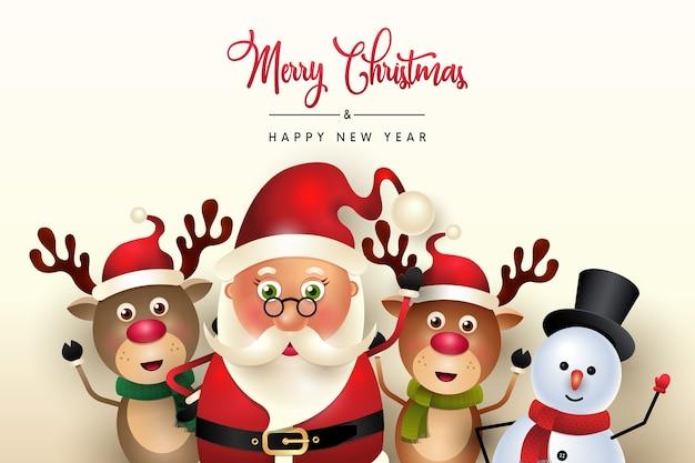 Papai noel fofo com boneco de neve desejando feliz natal