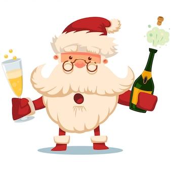 Papai noel fofo com garrafa de champanhe e personagem de desenho animado de vidro isolada no branco.
