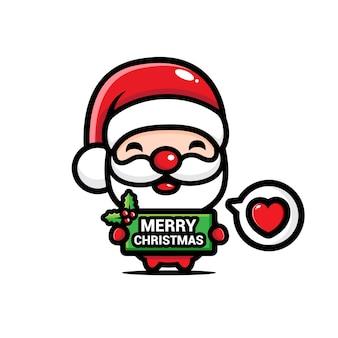 Papai noel fofo com saudações de feliz natal