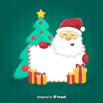 Papai Noel fofo com sinal em branco