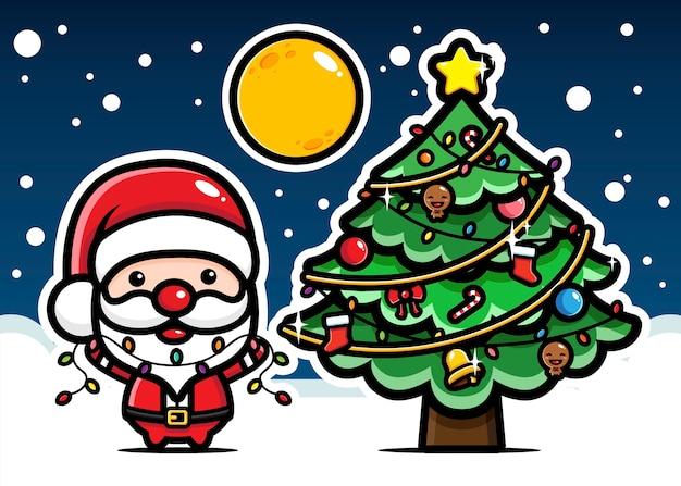 Papai noel fofo decorar árvore de natal
