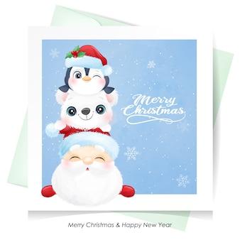 Papai noel fofo e amigos para o natal com cartão em aquarela