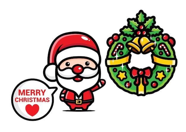 Papai noel fofo e decorações de natal