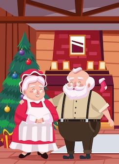 Papai noel fofo e esposa na ilustração da cena da casa