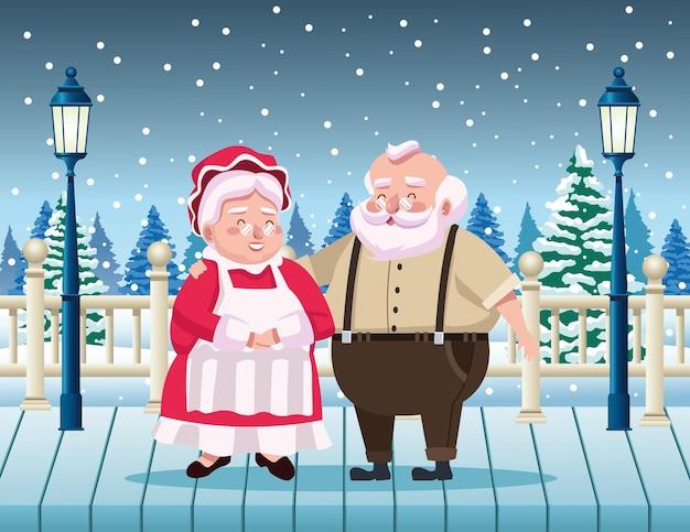 Papai noel fofo e esposa na ilustração da cena da neve