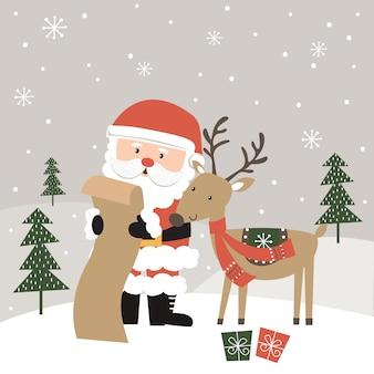 Papai noel fofo e renas lendo a lista de presente de natal, ilustração