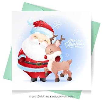 Papai noel fofo e veado para o natal com cartão em aquarela