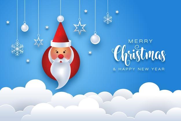 Papai noel fofo feliz natal Vetor Premium