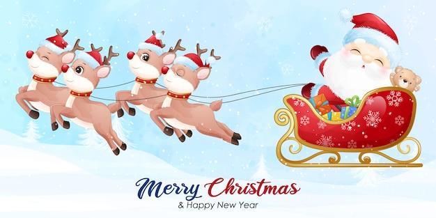 Papai noel fofo para o natal com banner em aquarela