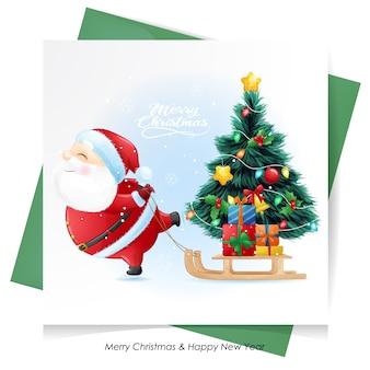 Papai noel fofo para o natal com cartão em aquarela