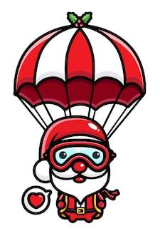 Papai noel fofo pulando de paraquedas isolado no branco
