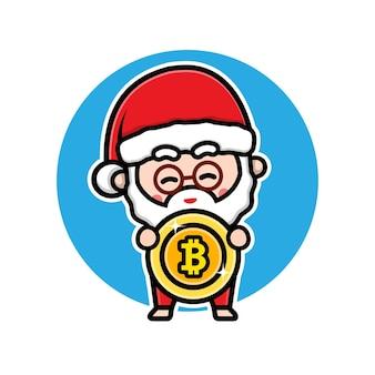 Papai noel fofo segurando um desenho de personagem de desenho animado bitcoin