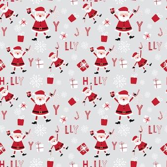 Papai noel fofo sem costura e padrão decorativo de natal design com cores vermelha e branca