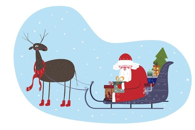 Papai noel fofo sentado em um trenó com renas. papai noel está carregando presentes para as crianças