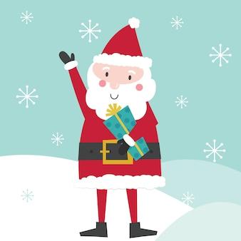 Papai noel fofo trazer presente de natal. ilustração