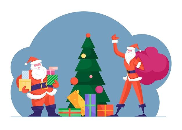 Papai noel gordo e magro entregando presentes na noite de natal