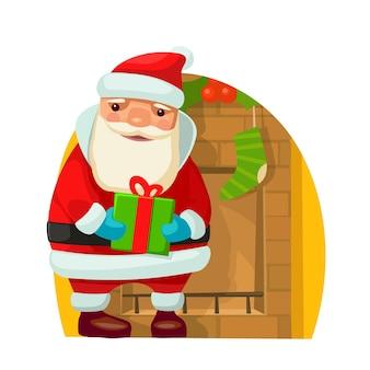 Papai noel. ilustração em vetor plana para ano novo e feliz natal.