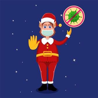 Papai noel insiste em continuar usando protocolos de saúde (máscaras) ao comemorar o natal para evitar o vírus covid-19