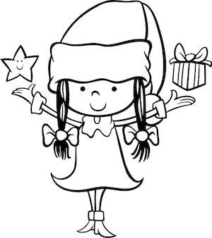 Papai noel, menina, desenho animado, colorir, página