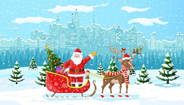 Papai noel monta um trenó de renas. paisagem urbana de inverno de natal, flocos de neve e árvores. cena de feliz natal