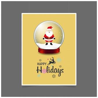Papai noel na bola de natal feliz feriado natal fundo