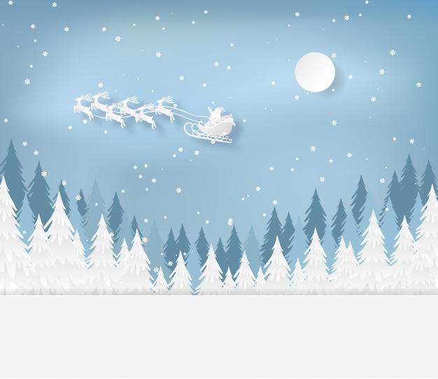 Papai noel na floresta com neve na estação do inverno. natal, cartão de ano novo